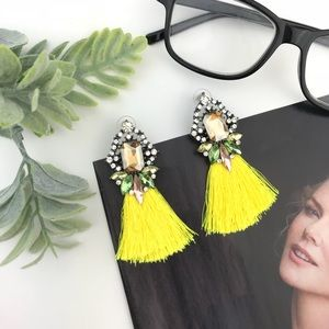 """Lola"" Crystal + Tassel Statement Earrings"